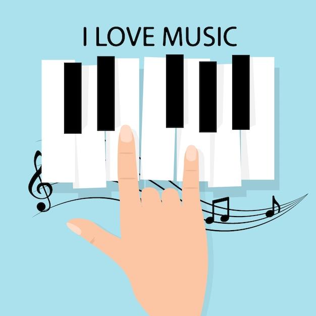 Musik klaviertastatur mit noten. poster hintergrundvorlage Premium Vektoren