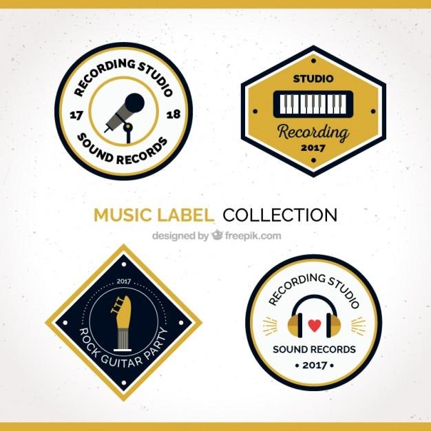 Musik-label-kollektion Kostenlosen Vektoren