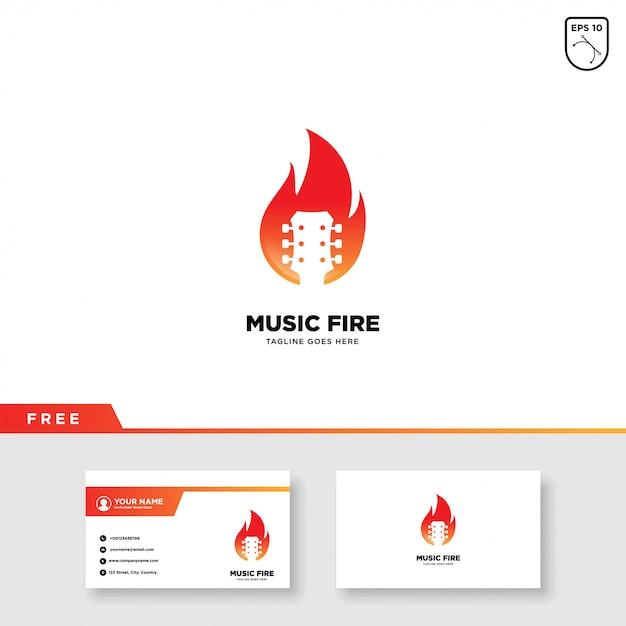 Musik-logo mit feuer- und visitenkarteschablone Premium Vektoren