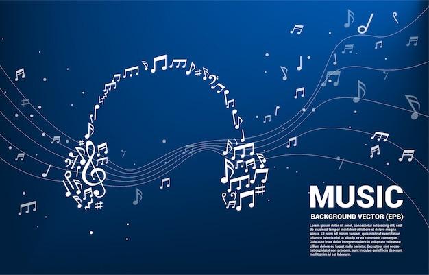 Musik melodie note geformte kopfhörersymbol. Premium Vektoren
