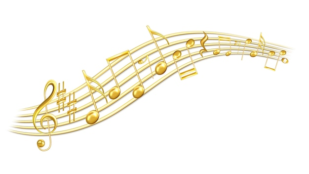 Musik melodienoten, violinschlüssel und scharf Premium Vektoren
