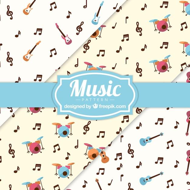 Musik noten und instrumente muster hintergrund Kostenlosen Vektoren
