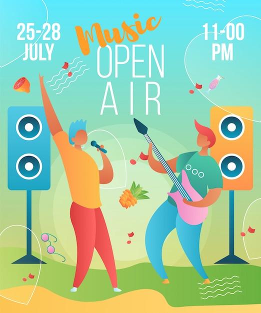 Musik open-air-plakat-vorlage mit zeichen Premium Vektoren