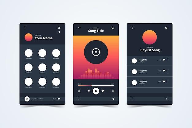 Musik-player-app-oberfläche auf dem smartphone