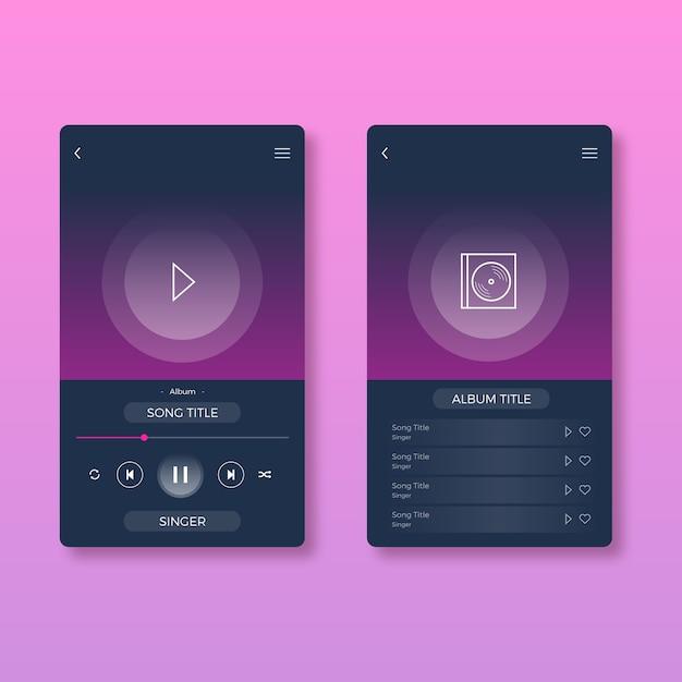 Musik-player-app-oberfläche | Kostenlose Vektor