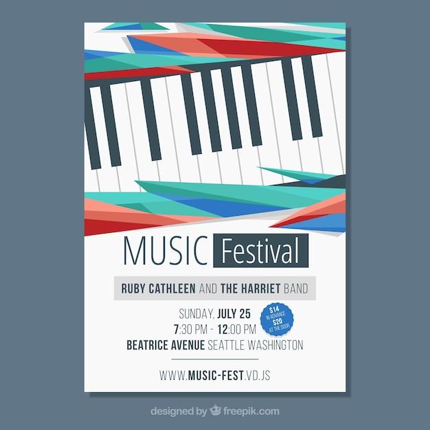 Musik Poster Vorlage mit Klavier | Download der kostenlosen Vektor