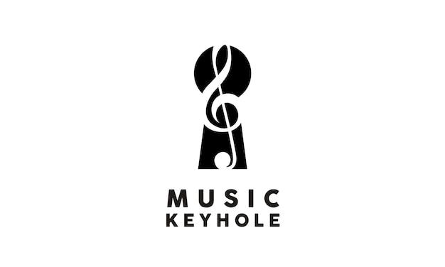 Musik und keyhole-logo-design Premium Vektoren