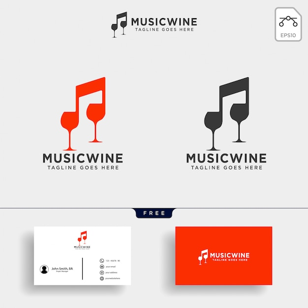 Musik wein logo vorlage abbildung Premium Vektoren