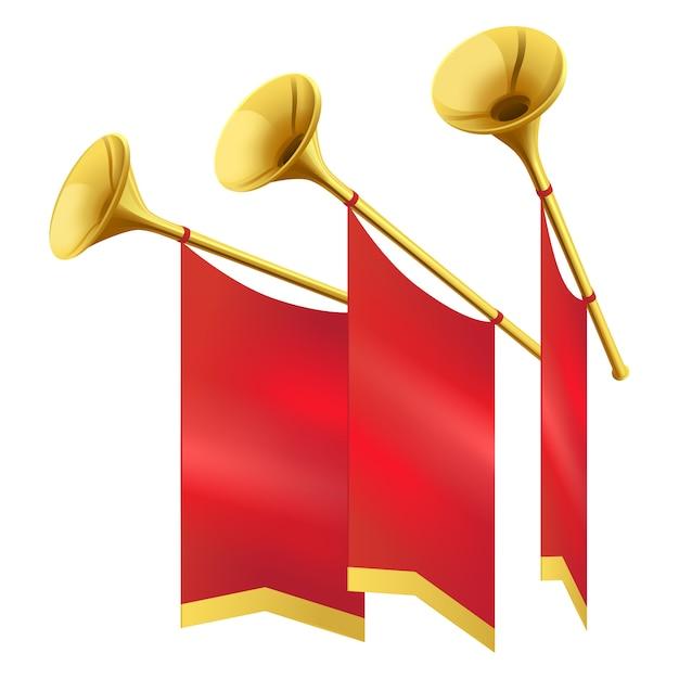 Musikalische goldene trompete drei verziert die lokalisierten roten fahnen Premium Vektoren