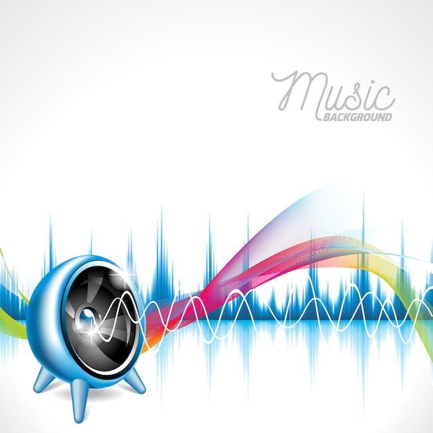 Musikalischer hintergrund mit mehrfarbigen schallwellen Kostenlosen Vektoren
