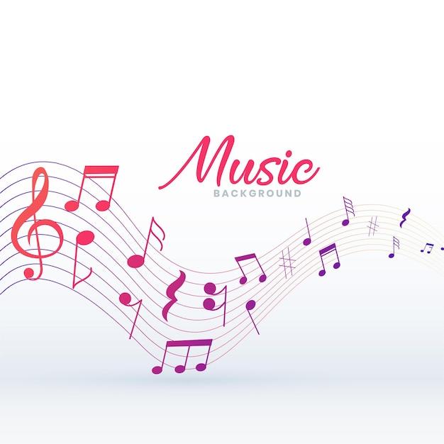 Musikalischer pentagrammhintergrund mit tonnoten Kostenlosen Vektoren