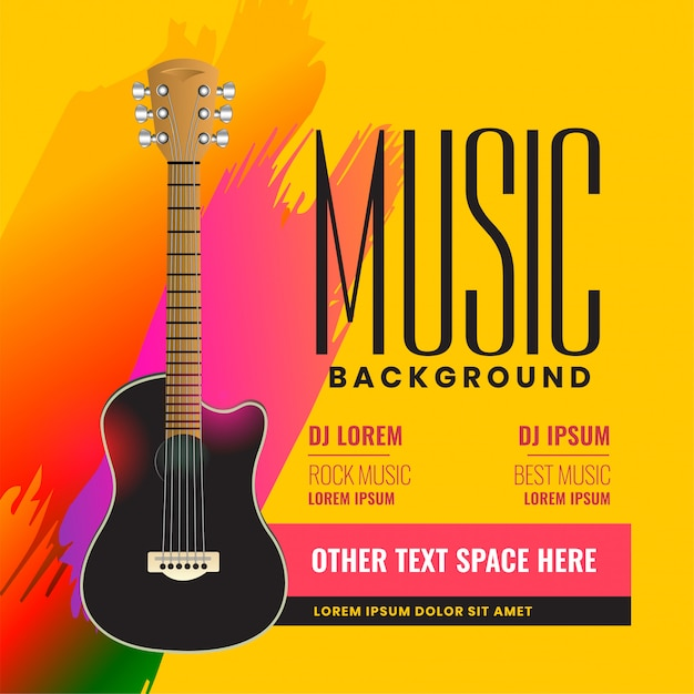 Musikalisches fliegerplakat mit realistischer akustikgitarre Kostenlosen Vektoren