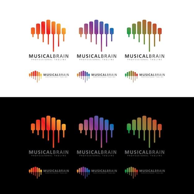 Musikalisches gehirn-logo Premium Vektoren