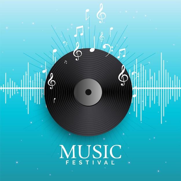 Musikaufnahme vinyl mit audio-beats Kostenlosen Vektoren