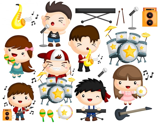 Musikband-image-set Premium Vektoren