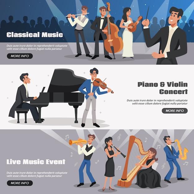 Musiker-banner-set Kostenlosen Vektoren