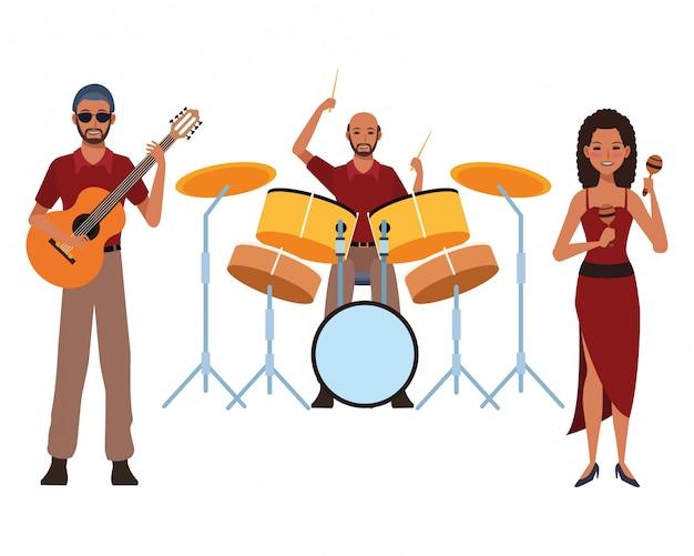 Musiker, der gitarrentrommeln und maracas spielt Premium Vektoren