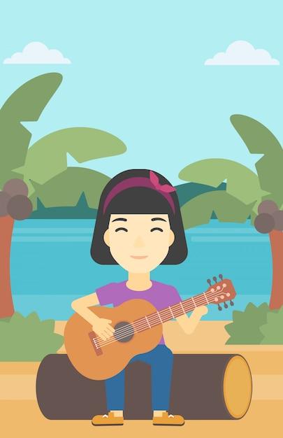 Musiker spielt akustische gitarre. Premium Vektoren