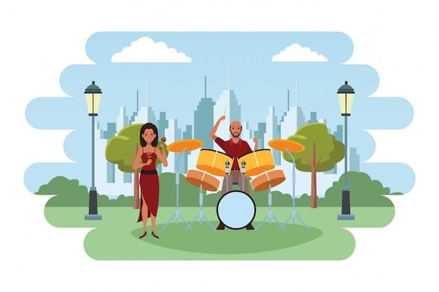 Musiker spielt maracas und schlagzeug Premium Vektoren