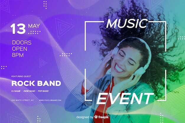Musikereignis-fahnenschablone mit foto Premium Vektoren