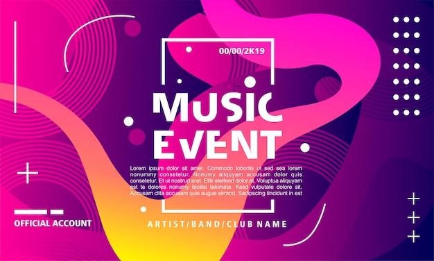 Musikereignisplakat-designschablone auf buntem hintergrund mit flüssiger form Premium Vektoren