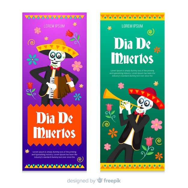 Musikerskelette für dia de muertos event Kostenlosen Vektoren