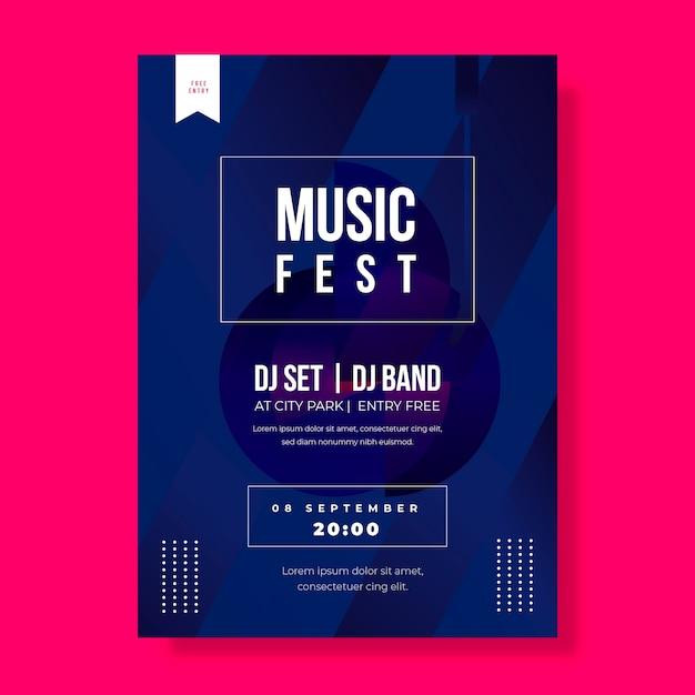 Musikfest mit djs plakatschablone Kostenlosen Vektoren
