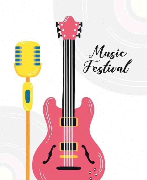 Musikfest poster mit gitarre elektrisch und mikrofon Premium Vektoren