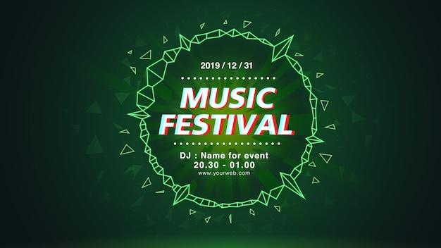Musikfestival-bildschirmhintergrund im grünen thema Premium Vektoren