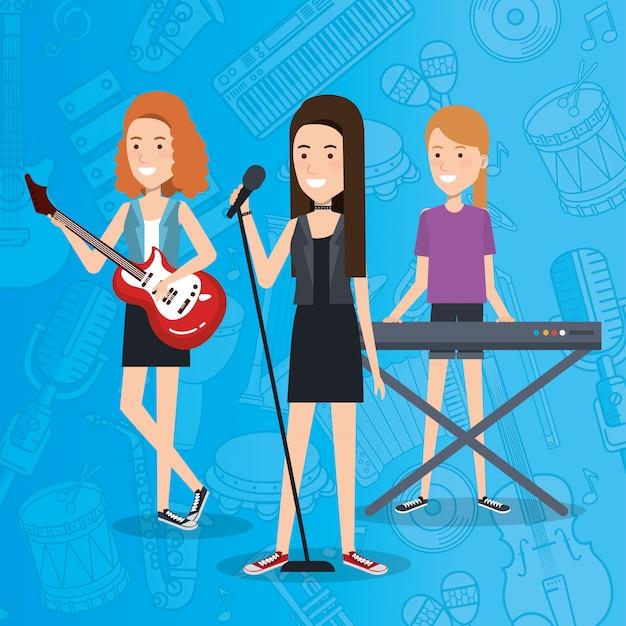 Musikfestival live mit frauen, die instrumente spielen und singen Kostenlosen Vektoren