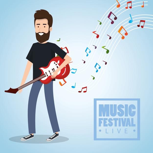 Musikfestival live mit mann spielt e-gitarre Kostenlosen Vektoren