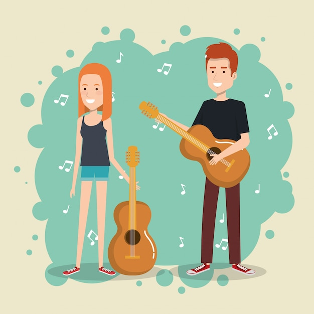 Musikfestival live mit paar gitarrenspielen Kostenlosen Vektoren