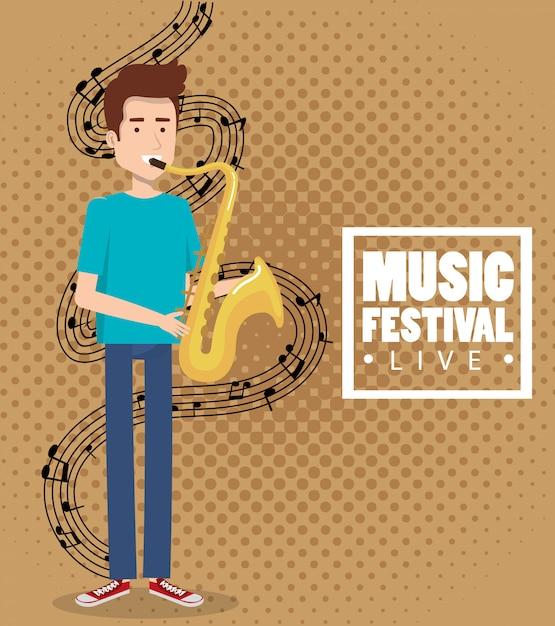 Musikfestival live mit saxophon spielendem mann Kostenlosen Vektoren