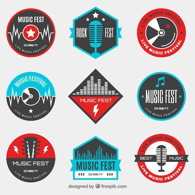 Musikfestival-logosammlung mit flachem design Kostenlosen Vektoren