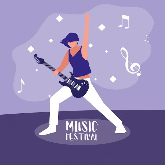 Musikfestival mit der frau, die e-gitarre spielt Premium Vektoren