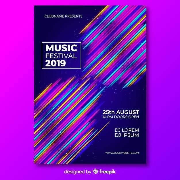 Musikfestival-plakatschablone mit bunten linien Kostenlosen Vektoren