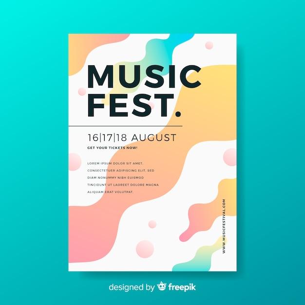 Musikfestival-plakatschablone mit flüssigem effekt Kostenlosen Vektoren