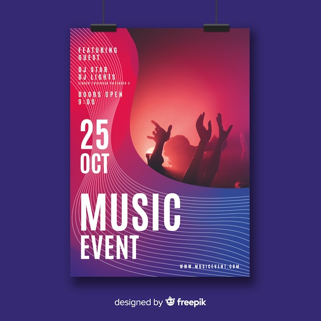 Musikfestival-plakatschablone mit foto Kostenlosen Vektoren