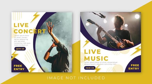 Musikfestival-social media-beitragsschablonensammlung Premium Vektoren