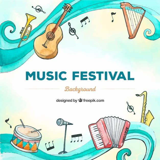 Musikfestivalhintergrund mit gezeichneter art der instrumente in der hand Kostenlosen Vektoren