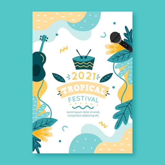 Musikfestivalplakat 2021 illustriertes design Premium Vektoren