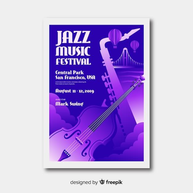 Musikfestivalplakat der steigungsillustration Kostenlosen Vektoren