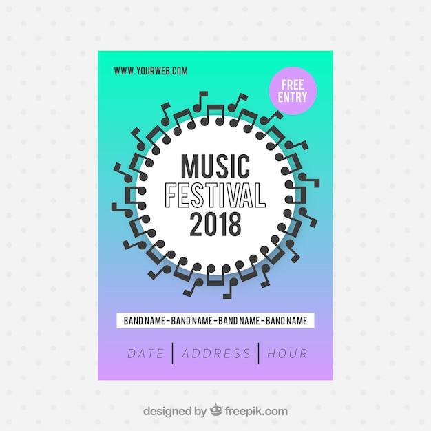 Musikfestivalplakat in der flachen art Kostenlosen Vektoren