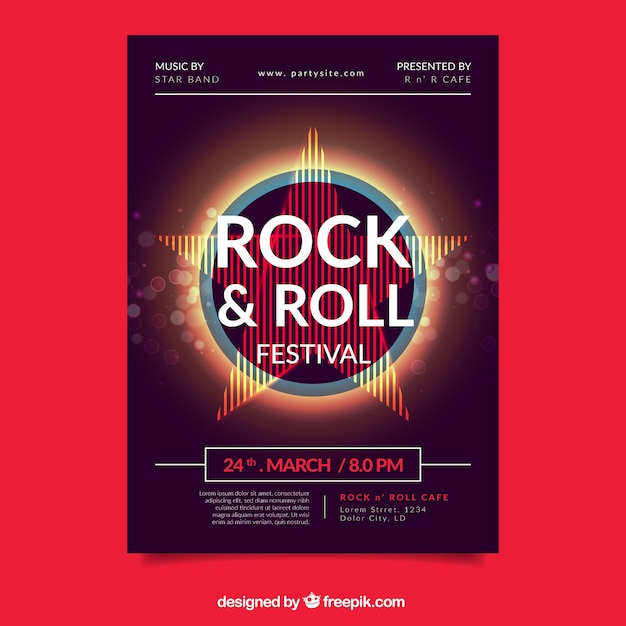 Musikfestivalplakat mit abstrakten formen Kostenlosen Vektoren