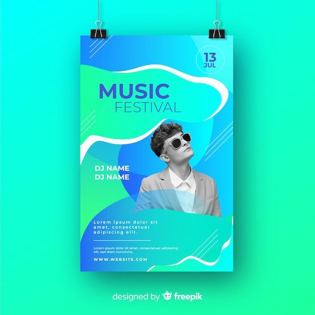 Musikfestivalplakat mit foto Kostenlosen Vektoren