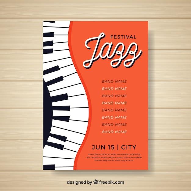 Musikfestivalplakat mit klavier Kostenlosen Vektoren