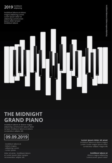 Musikflügel-plakat-schablone Premium Vektoren