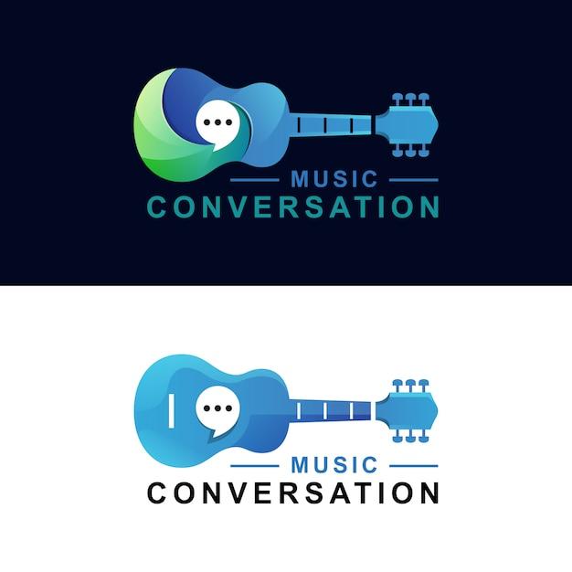 Musikgitarre konversationsgradientenlogo zwei versionsvektorschablone Premium Vektoren