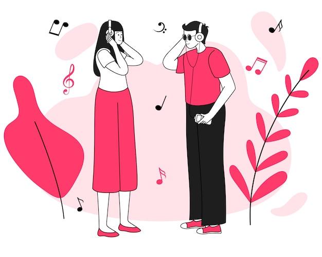 Musikhörer treffen abbildung. freude, positive emotionen. lächelnder junger paar-, mannes- und frauen-teenager mit den flachen konturncharakteren der kopfhörer lokalisiert auf weiß Premium Vektoren