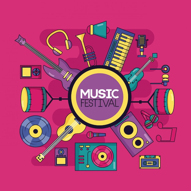 Musikinstrument festival abbildung Kostenlosen Vektoren